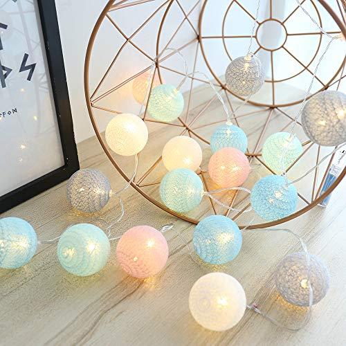 LED Cotton Ball Lichterkette, USB Bunt LED Cotton Bälle Kette 3.5M 20er LED Kugel Light für Innen, Mädchen Teenager Baby Zimmer Deko Terrasse Weihnachten Hochzeit Party Beleuchtung (6cm bunt)