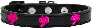 Mirage Pet Products 631-25 BK14 Pink Palm Tree Widget Dog Collar, Size 14, Black