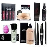 cosmac Professional Combo Kit Primer,Foundation,Waterproof Eyeliner,Mascara,Eyebrow Pencil,Eyeconic Kajal,Loose Face Powder,Lipstick,Makeup Fixer,Blunder,Eyelashes