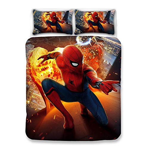 Sleepdown Double Duvet Set, Spiderman 3D Digital Print Double Pillow, Upgrade Polyester-Cotton Fade Stain Resistantquilt Cover Sets, For Adults (150X200Cm)