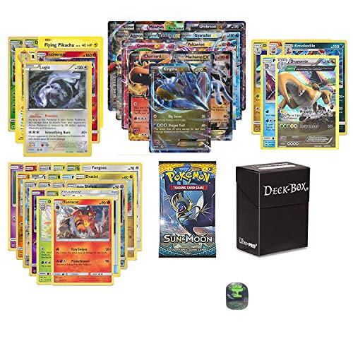 Pokemon EX Guaranteed with Booster Pack, 6 Rare Cards, 5 Reverse Holo Cards, 20 Regular Pokemon Cards, Deck Box and 1 Top Cut Central Exclusive Dice
