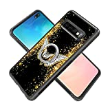 Samsung Galaxy S10 Plus Case with Holder Ring Bling Angel Wings Soft Black TPU Rubber and PC Anti-Slip Grip Cover Case, Shockproof Defend Protective Phone Case for Samsung Galaxy S10 Pl