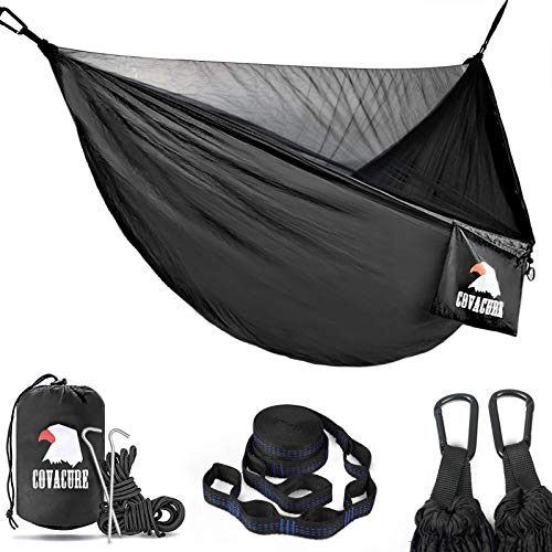 Covacure Camping Hammock - Lightweight Double Hammock, Hold Up to 772lbs, Portable Hammocks for Indoor, Outdoor, Hiking, Camping, Backpacking, Travel, Backyard, Beach(Black)