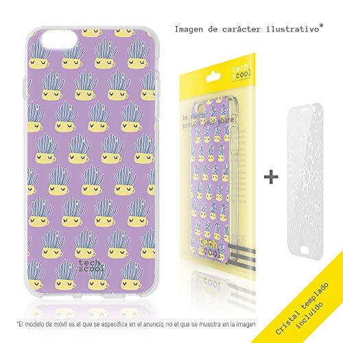 Funnytech® beschermhoes van siliconen voor LG K10 [flexibele siliconengel, exclusief design] cactus bloempot, paarse achtergrond