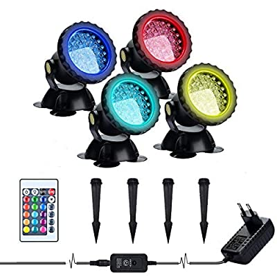 Lychee Set of 4 36 LEDs IP68 Waterproof 2 in 1 Landscape Spotlights, Remote Control Amphibious Change Color Submersible Lights for Garden Aquarium Courtyard Lawn Swimming Pool Fountain
