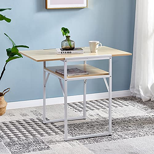 Ansley&HosHo Foldable Dining Kitchen Table for Camping Drop Leaf Extendable Desk for Small Dinette Folding Computer Desk Workstation Wood Tabletop with Metal Frame for Small Space Apartment