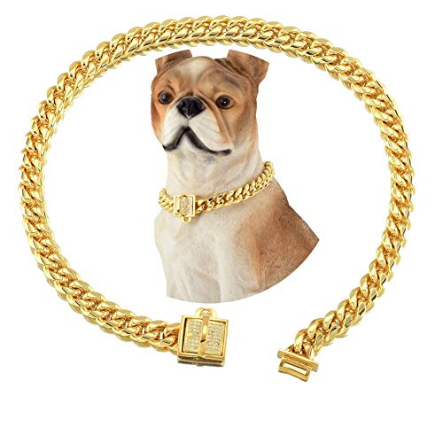 18K Gold Dog Cat Collar XS Small Metal Stainless Steel 10mm Luxury Training Collar Cuban Link with Zirconia Lock Necklace Chain Locking Chew Proof Collar (18inch(for 15.6~17.5' Neck))