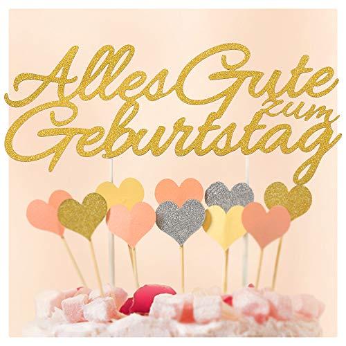 Ecooe Alles Gute zum Geburtstag Kuchen Dekoration Happy Birthday Kuchenaufsatz Cake Topper für Baby Freunde Familie Glitter Gold Silber Rosa Herzen Größe
