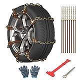 READLEAF Cadenas de Nieve Coche 8 piezas Cadenas de Nieve para Neumáticos de Emergencia para Automóvile/SUV/Camione/Furgoneta Neumáticos de Ajustables Universales para Anchos de Neumático de 165-275mm