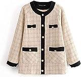 Reteone Pockets Jackets Women Fashion Striped Tweed Coats Women Long