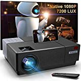 Native 1080P HD Projector,BOSNAS Upgrade 7200 Lux Video LED LCD Projector Home Theater&Outdoor 300 Inch Movie Display 4D Keystone Correction Zoom Function Support 4k for TV HDMI VGA USB PC iOS Android
