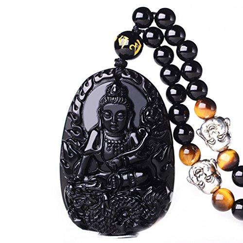 Pure Natural Obsidian Natural Pendant Necklace Zodiac Bodhisattva Amulet Talisman White Copper Buddha Necklace Pendant Men or Women