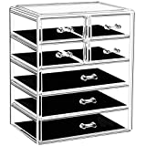 URMOMS Makeup Organizer Large Capacity Acrylic Makeup Storage Organizer Box with 7 Drawers for Jewerly and Lipstick, Cosmetic Display Cases for Bathroom Countertop and Dresser