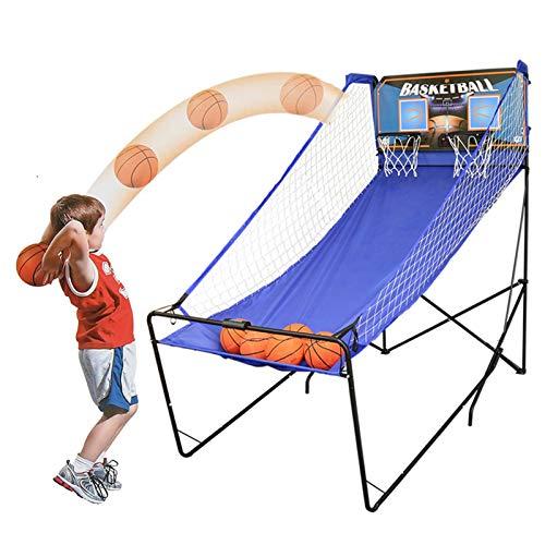 Canasta Tableros de Baloncesto Juego de Arcade de Baloncesto Plegable para Adultos y Niños, Sala de Juegos/Garaje Doble Tiro Electrónico Juego de Aro de Baloncesto para 2 Jugadores con 5 Bolas