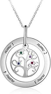 Tian Zhi Jiao Personalized Family Tree of Life Mothers Pendant Simulated Birthstone Necklace with 4 Names Engraved Mom Jewelry Birthday Gifts for Women