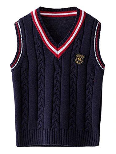 EOZY Kinder Jungen V-Ausschnitt Weste Top Baumwolle Strickweste Ärmellos Sweater Pullover Dunkelblau 140 Bruste 74cm