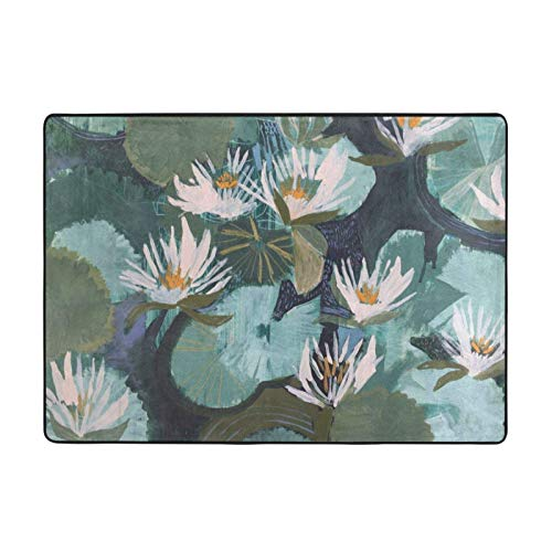 Hand Painted Lotus Printed Area Rugs Ultra Soft Modern Indoor Carpets for Living Room/Bedroom - 84*60 in
