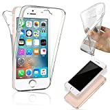 SAVFY Funda on 360 Doble Delantera + Trasera Gel Transparente Silicona Gel Integral para iPhone SE / 5 / 5S