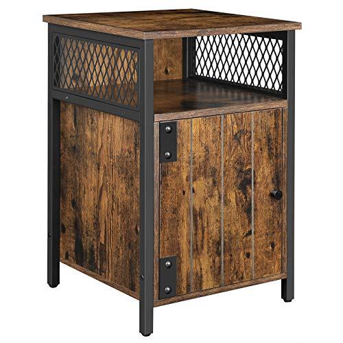 VASAGLE Nachttisch, Beistelltisch, 40 x 40 x 60 cm, offenes Fach, mit Aufbewahrungsschrank, für Wohnzimmer, Schlafzimmer, vintagebraun-schwarz LET068B01