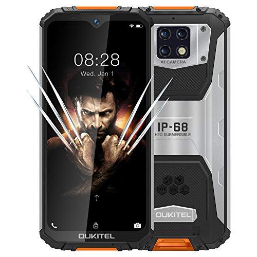 OUKITEL WP6 (2020), IP68 Outdoor Smartphone Ohne Vertrag, 10000 mAh Akku (18 W Schnellladung), 48 MP Quad-Kamera, Helio P70 6 GB + 128 GB, 6,3 Zoll FHD + Robustes Handy, DUAL SIM GPS WiFi Orange