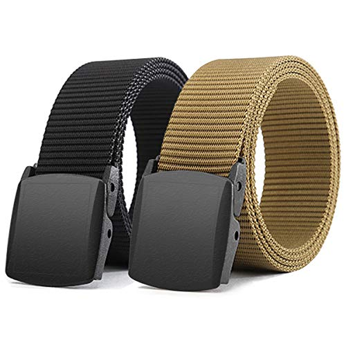 WYuZe Black Nylon Webbing Belt-2 Pack Plastic Military Tactical Web Belt for Men,Black and Coyote,Waist: 28'-42'