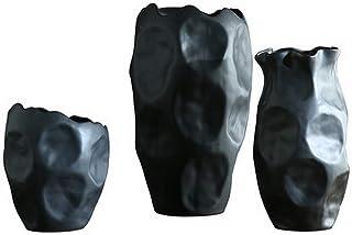 Black Porcelain Vase Pack of 3, Living Nostalgia Decorative Bottles for Home Decor As A Decorative Accessory Or for Displa...