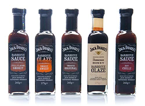 Jack Daniel\'s - Grillsaucen & BBQ Glaze Probierpaket - 5 Flaschen im Set (1330g) - Smooth Original, Full Flavor Smokey, Smokey Sweet, Hot Chilli, Tennessee Honey