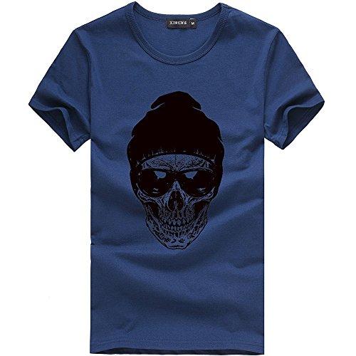 Verano Camiseta de Manga Corta para Hombre Moda Estampado Calaveras Cuello Redondo Sueltos Casuales Transpirables T-Shirt Blusa Tops Sudadera MMUJERY