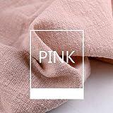 Tela de lino, tela de lino lisa, tela de lino natural para bordado, tela de punto de cruz de lino para ropa, manualidades, tapicería, decoración de macetas y mantel, rosa, 1pc 130x100cm