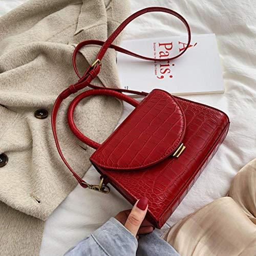 LOH Sacs à bandoulière en Cuir pour Femme Sac à bandoulière pour Femme Sacs à Main fourre-Tout, Rouge, 19,5 cm x 15 cm x 9 cm