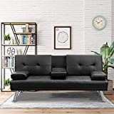 Hooseng Modern Faux Leather Convertible futon Armrest Recliner Couch Home Furniture 2 Cup Holders Sofa Bed-Black