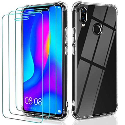 iVoler Cover per Huawei P Smart+ 2018 / Huawei P Smart Plus 2018, Antiurto Custodia con Paraurti in TPU Morbido e 3 Pezzi Pellicola Vetro Temperato, Ultra Sottile Trasparente Silicone Protettiva Case