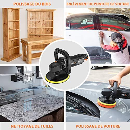 Polisseuse Voiture, TACKLIFE 1500W Machine à polir, 180/150 MM Tampon de Polissage, 6 Vitesse Variable avec Affichage à Écran de LCD, Soft-Start, Poignée en D et Poignée latérale  PPGJ01A