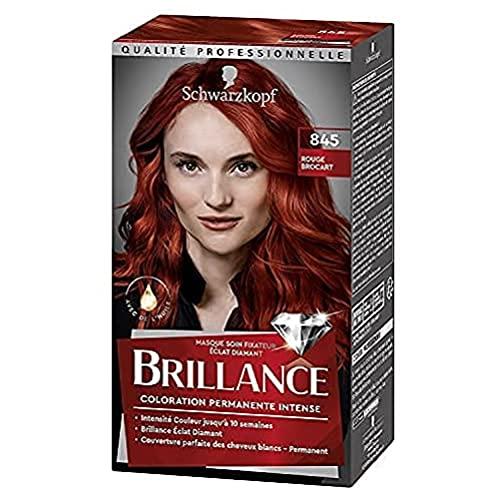 Schwarzkopf - Brillance - Coloration Cheveux Permanente Intense - Avec de l'Huile - Couvre 100% des Cheveux Blancs - Rouge Brocart 845