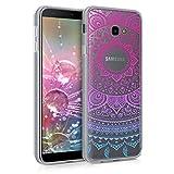 kwmobile Funda Compatible con Samsung Galaxy J4+ / J4 Plus DUOS - Carcasa de TPU y Sol hindú en Azul/Rosa Fucsia/Transparente