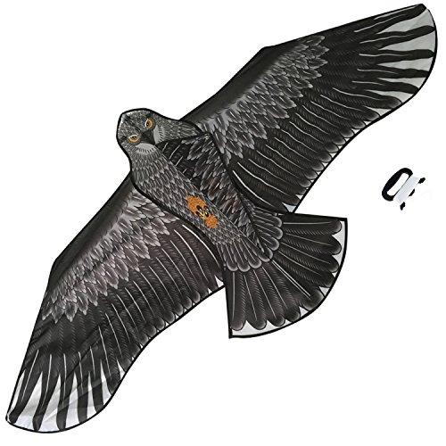 Sun Kites Großer Adler Flug-Drachen für Kinder & Erwachsene - Riesiger Spannweite! Lebensecht! - Schwarz