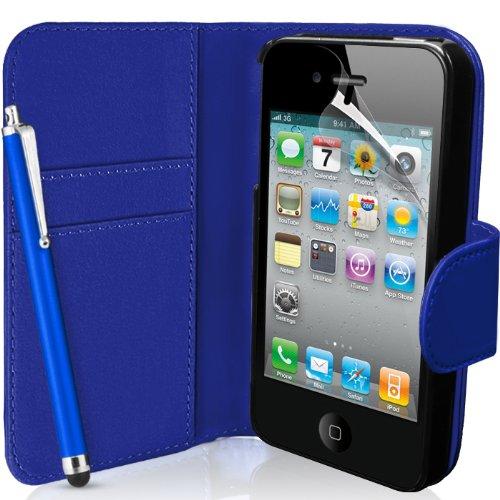 SUPERGETS - Custodia a Portafoglio per Apple iPhone 4 / 4S, Pellicola salvaschermo, Pennino Capacitivo e Panno di Pulizia I Love Dark Blue Color