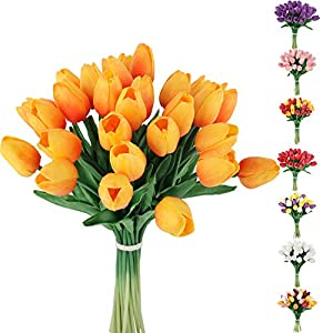 C APPOK 30pcs Artificial Tulips Flowers Fake Latex Tulip Stems – Real Touch Faux Orange Tulips Flower for Easter Spring Wedding Bouquet Centerpiece Floral Arrangement Cemetery Table Decor