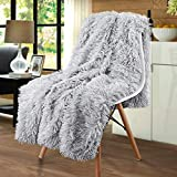 Merelax Ultra Soft Shaggy Faux Fur Blanket, Luxury Plush Fuzzy Bed Throw Christmas Decorative Longfur Blankets, Cozy Sherpa Fluffy Blanket Warm for Winter, Couch, Photo Props (50' x 60' Silver Grey)