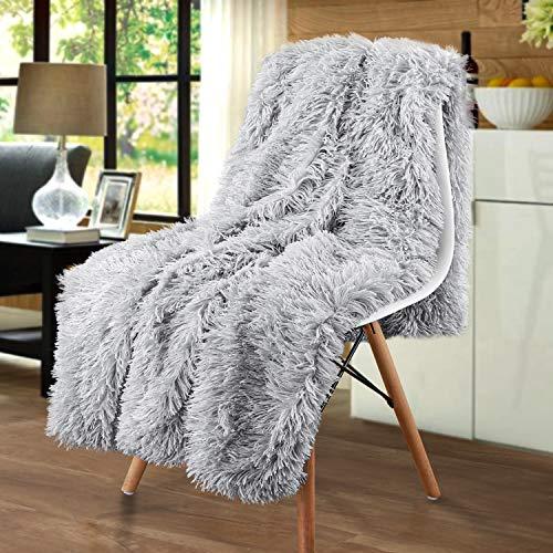 junovo Kunstfell-Zotteldecke, superweich, gemütlich, flauschig, warm, leicht, lange Haare, flauschige Überwürfe für Couch & Bett, Dekoration (Silbergrau, 127 x 152,4 cm)