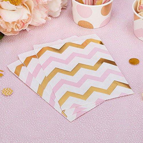 Papiertütchen Zickzack rosa gold 16,5 x 13 cm 25 Stück - Geschenktütchen Hochzeit Candy Bags Kindergeburtstag Mitgebsel Paper Bags Candy Bar Bonbontütchen Süßigkeiten-Tütchen Chevron rosa gold