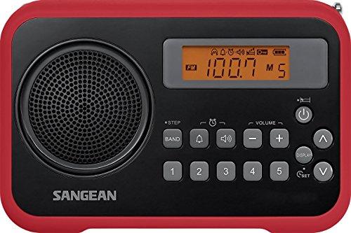 Sangean PR-D18RB AM/FM/Clock Portable True Digital Radio with Protective Bumper (Black/Red Limited Edition)