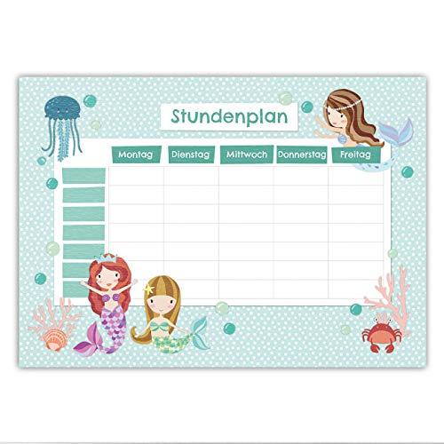 Papierdrachen Stundenplan DIN A4 Block - Motiv Meerjungfrau - beschreibbar Schule - Terminkalender und Wochenplan