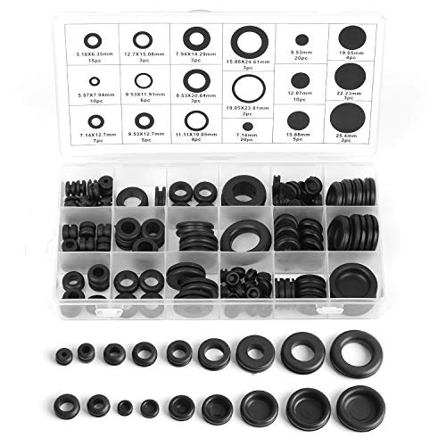 Gydandir Firewall Hole Plug Set Rubber Grommet Assortment Kit Electrical Wire Gasket Ring Assortment for Wire, Plug and Cable of Car and Machine, 125 Pieces
