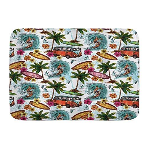 Fußmatten, Ocean Hawaiian Surfer auf welligen Tiefsee-Retro-Stil Palmen Blumen Surfbretter, Küchenboden Badteppichmatte Saugfähig Innenbad Dekor Fußmatte rutschfest