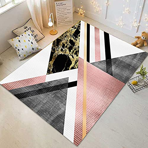 Tappeto D Ingresso Irregolare Geometrico Triangolare A Contrasto Serie di Colore Rosa E Nero Adatto per Camera da Letto Ufficio Hotel Stampa Digitale Tappetino per Corridoio Spesso Lavabile