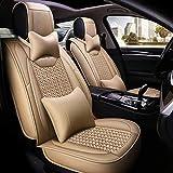 KBZW - Funda para asiento de coche, 5 plazas, juego completo de fundas universales de piel textil con almohada (color: beige)