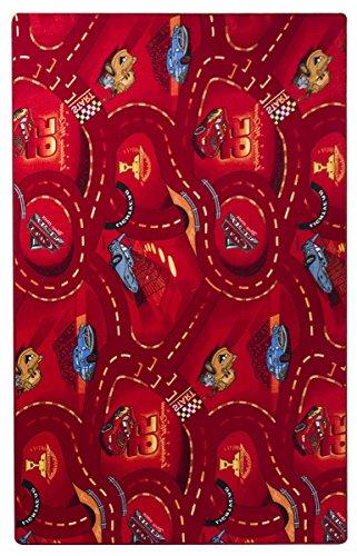 havatex Kinderteppich Cars - Farben: Rot, Blau, Grau | Spielteppich schadstoffgeprüft pflegeleicht strapazierfähig | Kinderzimmer Spielzimmer Zeichentrick Comic, Farbe:Rot, Größe:60 x 120 cm