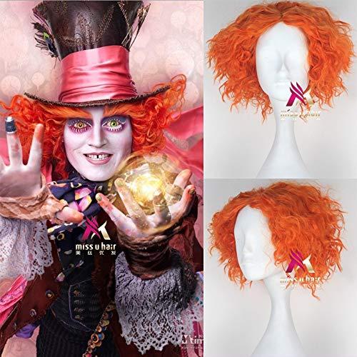 GHK Biamoxer Alice in Wonderland 2 Mad Hatter Tarrant Hightopp Oranje Pruik Korte Krullend Haar Rol Spelen Halloween Synthetisch Haar