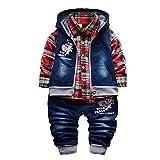 3-teiliges Babykleidungs-Set für Jungen, Baumwollhemd, Jeans, Jeansweste, für Frühling & Herbst Gr. 1-2 Jahre, rot